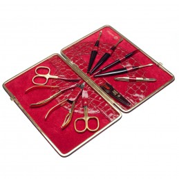 NIEGELOH KROKO XL LEATHER MANICURE SET RED Solingen - 1