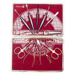 NIEGELOH KROKO XL LEATHER MANICURE SET RED Solingen - 3